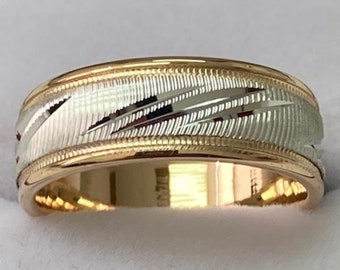 7mm 10K 14K 18K Solid White and Yellow Gold Mens Wedding Bands , Mens Wedding Rings, Two Tone Gold Wedding Bands, Rings for Men
