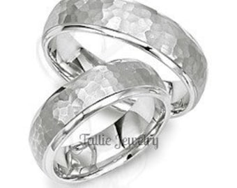 His & Hers Platinum Wedding Bands, Platinum Hammered Finish Wedding Rings, Matching Wedding Bands Set, Rings for Women , Rings for Men