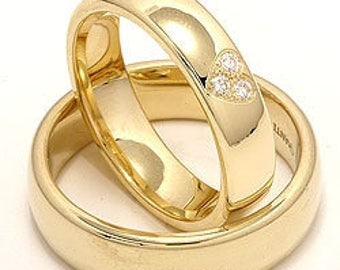 14K Yellow Gold His & Hers Wedding Rings, Matching Wedding Bands Set, 10K 14K 18K Solid Yellow Gold Diamond Wedding Rings