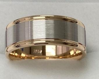 Platinum Mens Wedding Band, Platinum Mens Wedding Ring, 18K Solid Yellow Gold and Platinum Wedding Band, Two Tone Gold Wedding Bands