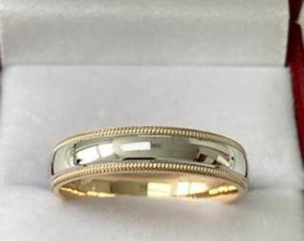 Two Tone Gold Wedding Bands, Milgrain Shiny Finish Two Tone Wedding Rings, 4mm 10K 14K 18K Solid White and Yellow Gold Wedding Bands