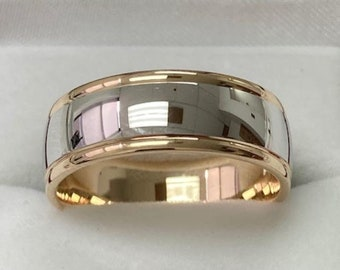 Mens Wedding Band, Mens Wedding Ring, 8mm 10K 14K 18K Solid White and Yellow Gold Shiny Finish Wedding Bands, Two Tone Gold Wedding Bands