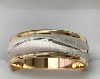 8mm 10K 14K 18K Solid White and Yellow Gold Mens Wedding Bands, Brushed Finish Mens Wedding Rings, Two Tone Gold Wedding Bands