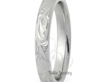 3mm 10K 14K 18K White Gold Mens Womens Wedding Bands, Hand Engraved Mens Wedding Rings, Matching Wedding Bands, His &Hers Wedding Rings
