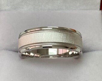 7mm 10K 14K 18K White Gold Wedding Bands, Solid White Gold Mens Wedding Rings, Milgrain Brushed Finish Mens Wedding Bands ,Rings for Men