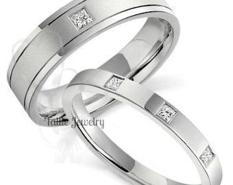 His & Hers Princess Cut Diamond Wedding Bands, Matching Wedding Rings Set , 14K White Gold Diamond Wedding Bands, His and Hers Wedding Rings