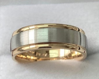 Two Tone Gold Wedding Bands, Mens Wedding Rings, Mens Wedding Bands, 7mm 10K 14K 18K Solid White and Yellow Gold Wedding Bands