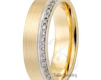 14K Gold Wedding Band, Diamond Eternity Wedding Rings ,Diamond Eternity Bands , Rings for Women, Two Tone Gold Wedding Bands