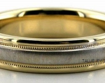 Two Tone Gold Wedding Bands, 5mm,10K,14K,18K White and Yellow Gold Mens Wedding Rings, Two Tone Gold Mens Wedding Bands, Mens Wedding Rings