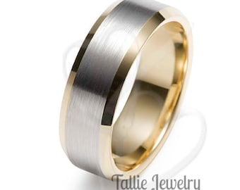Two Tone Gold Wedding Bands, 8mm 10K 14K 18K White and Yellow Gold Mens Wedding Rings, Rings for Men ,Beveled Edge Mens Wedding Band