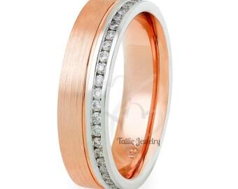 14K Gold Diamond Wedding Band , Diamond Eternity Wedding Rings,  Womens Diamond  Wedding Ring, Rings for Women, Two Tone Gold Ring