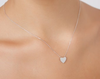 Heart Necklace,14K Solid White Gold Heart Necklace, Minimalist  Heart Necklace, Floating Heart Necklace,Dainty Heart Necklace, Gifts for Her