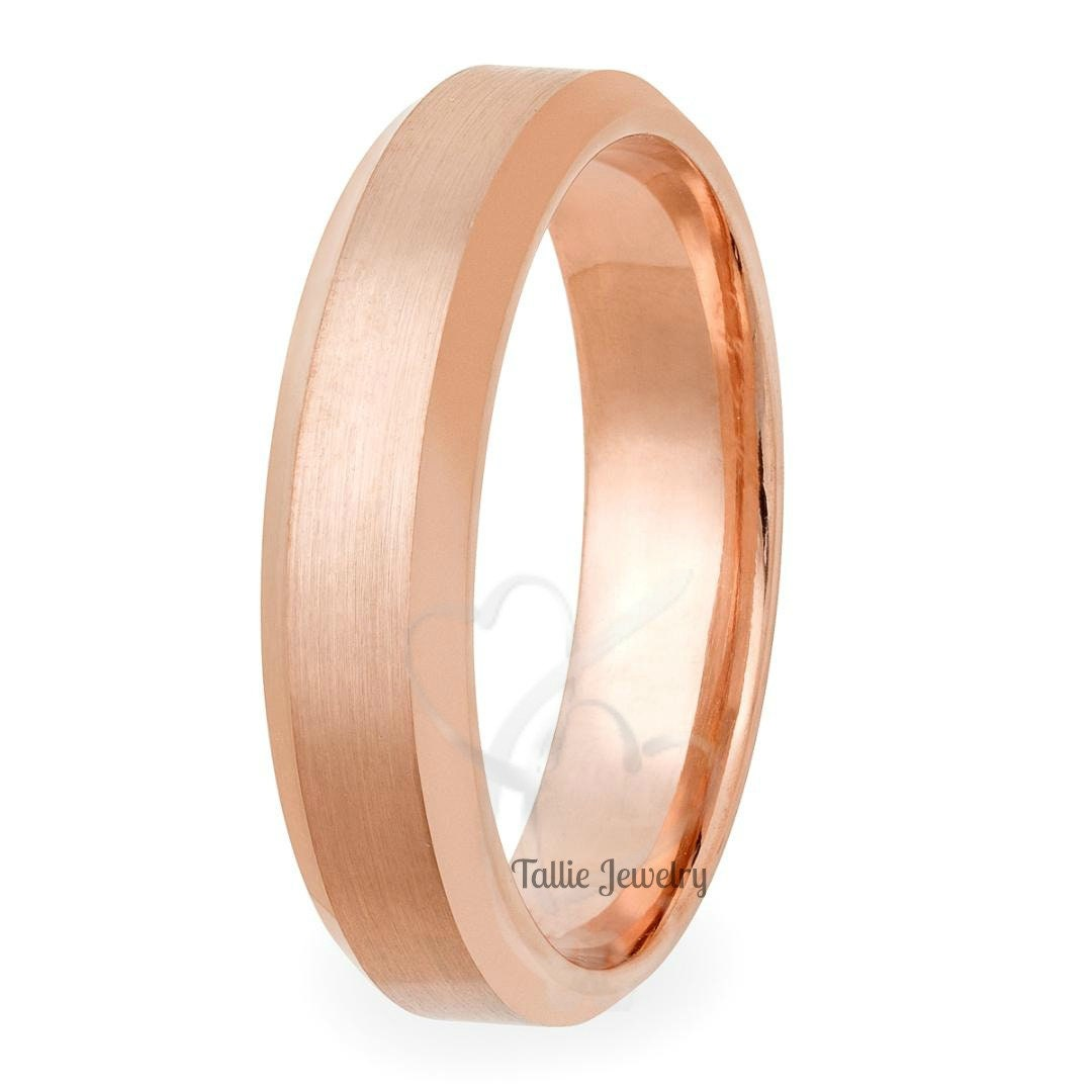 5mm 10K 14K Rose Gold Mens or Womens Wedding Rings