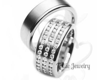 His and Hers Platinum Diamond Wedding Bands, Platinum Diamond Eternity Wedding Rings, Matching Wedding Rings Set