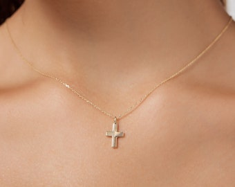 14K Solid Yellow Gold Cross Necklace, Dainty Cross Necklace, Gold Cross Necklace, Minimalist Cross Necklace, Small Cross Necklace
