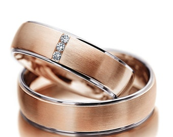 14K Rose Hold His & Hers Diamond Wedding Bands, Matching Wedding Rings Set, Couple Wedding Bands, His and Hers Wedding Rings
