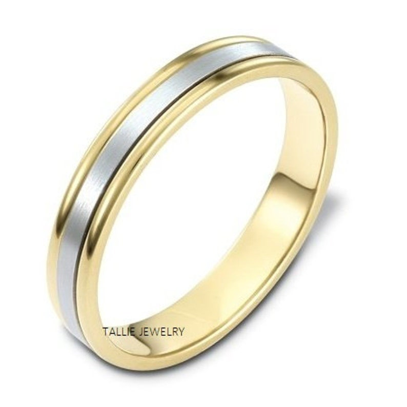 3mm,10K,14K,18K White and Yellow Gold Wedding Rings Two Tone Gold Wedding Bands Matching Wedding Rings,Mens or Womens Gold Wedding Bands