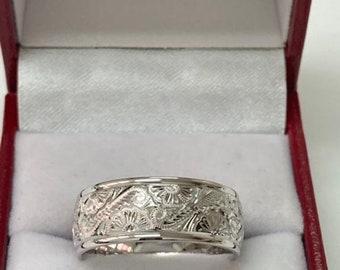 Hand Engraved Platinum Mens Wedding Band , Platinum Hand Engraved Mens Wedding Ring, Platinum Wedding Band,  Hand Engraved Platinum Rings