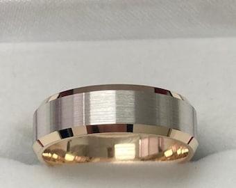 Two Tone Mens Wedding Band, Satin Finish Beveled Edge Mens Wedding Ring, 6mm 10K 14K 18K White and Yellow Gold Wedding Bands, Two Tone Rings