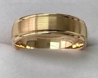Yellow Gold Mens Wedding Band, Satin Finish Mens Wedding Ring, 6mm 10K 14K 18K Solid Yellow Gold Wedding Bands, Rings for Men