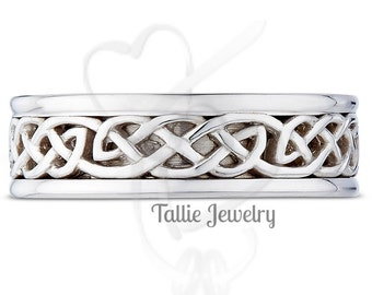 Mens White Gold Wedding Bands, Mens Celtic Knot Wedding Rings, 14K 18K Gold Mens Celtic Wedding Bands, Irish Wedding Rings