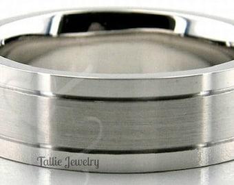 6mm 10K 14K 18K White Gold Mens Wedding Bands, Satin Finish Mens Wedding Rings, Matching Wedding Bands, His &Hers Wedding Rings