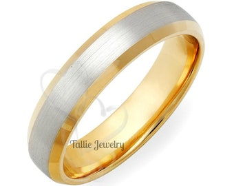 Two Tone Mens Wedding Bands, 5mm 10K 14K 18K Solid White and Yellow Gold Beveled Edge Mens Wedding Rings, Two Tone Gold Wedding Bands