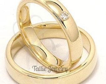 4mm 10K 14K 18K Solid Yellow Gold Wedding Bands, Mens Womens Diamond Wedding Rings, His & Hers Wedding Bands, Matching Wedding Rings Set