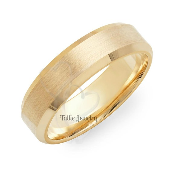 Mens solid gold wedding band 2.5mm wide hammered 10k or 14k yellow gold