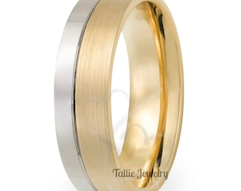 Two Tone Gold Wedding Bands,7mm,10K 14K 18K White and Yellow Gold Mens Wedding Rings, Matching Wedding Bands, His & Hers Wedding Rings