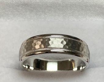 Platinum Wedding Band,  Platinum Wedding Ring , 6mm Milgrain Hammered Finish Mens Wedding Bands, 950 Platinum Ring