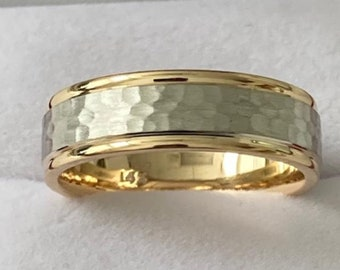 Two Tone Mens Wedding Bands, Hammered Finish Mens Wedding Rings, 6mm10K 14K 18K Solid White and Yellow Gold Wedding Bands, Two Tone Ring