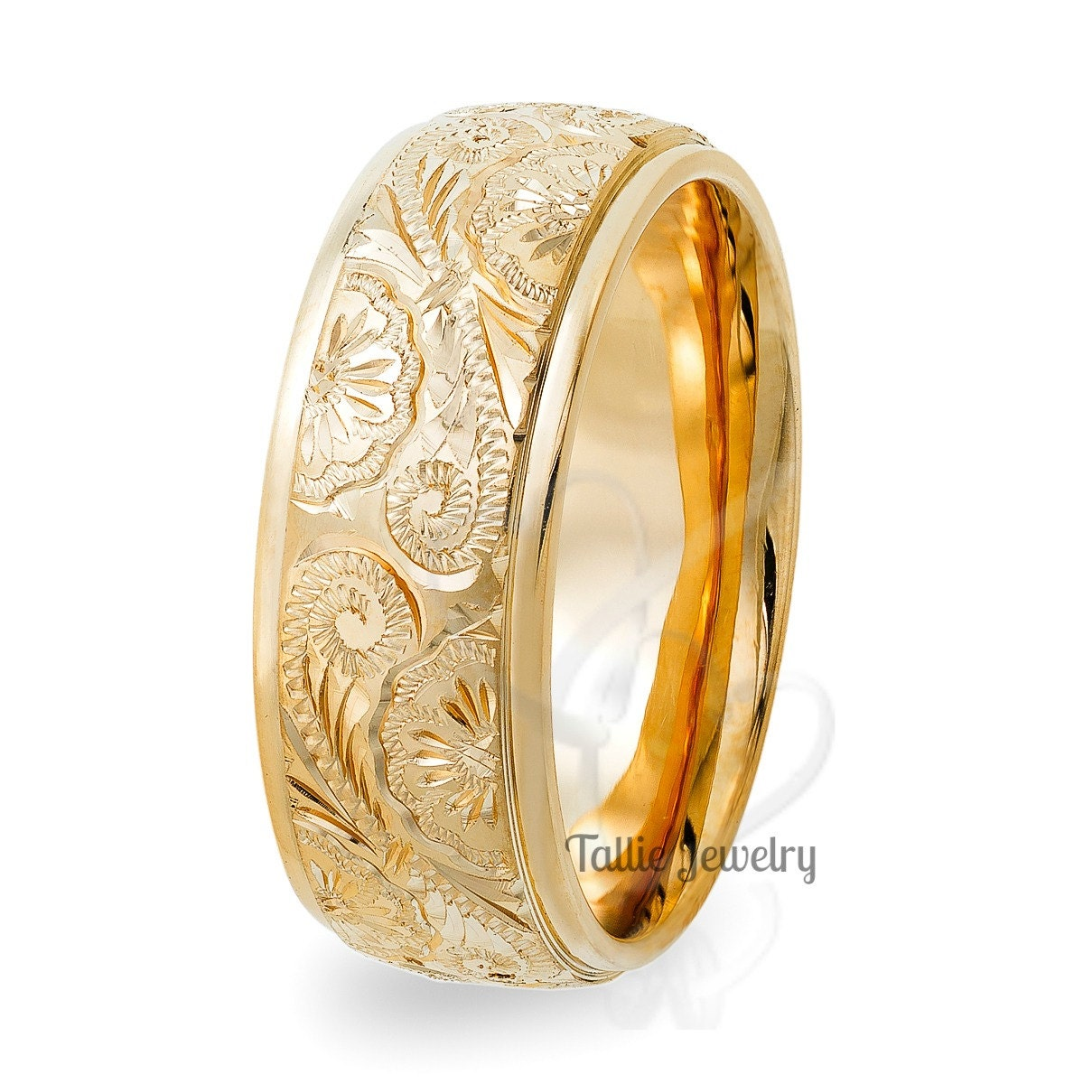 Hand Engraved Mens Wedding Rings 8mm 10k 14k Yellow Gold Wedding