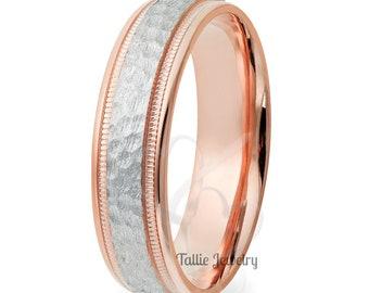 Platinum Wedding Bands , Platinum Wedding Ring for Men ,14K Solid Rose Gold & Platinum Mens Wedding Ring, Two Tone Gold Wedding Bands