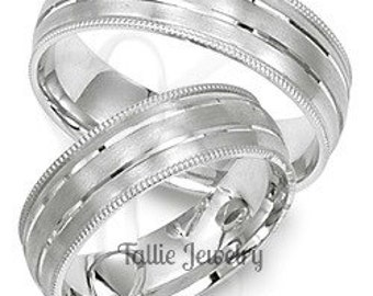 His & Hers Platinum Wedding Bands,  Platinum Matching Wedding Rings Set , Platinum Ring for Men, Rings for Women