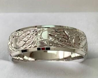 Hand Engraved Mens Wedding Rings, Hand Engraved Mens Wedding Bands, 7mm 10K 14K 18K White Gold Wedding Bands, Hand Engraved Wedding Rings