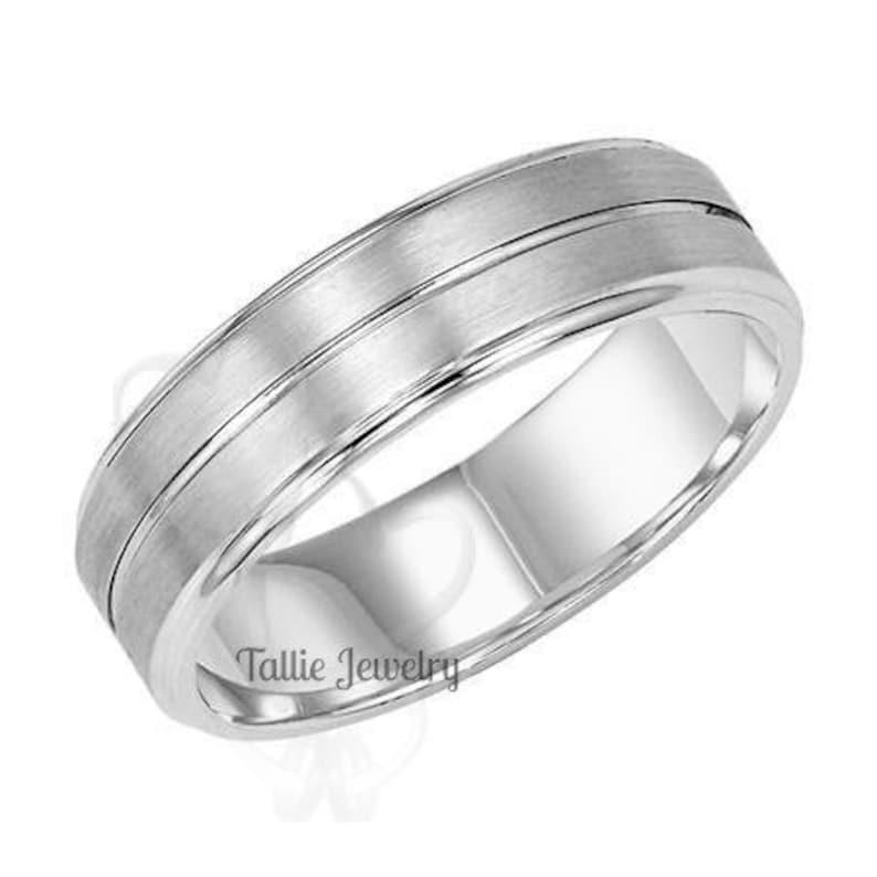 Matching Wedding Bands His /& Hers Wedding Rings Satin Finish Mens Wedding Rings 6mm,10K,14K,18K White Gold Mens Wedding Bands