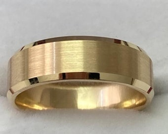 14K Yellow Gold Mens Wedding Bands, 7mm 10K 14K 18K Solid Yellow Gold Mens Wedding Rings, Beveled Edge Satin Finish Mens Wedding Band
