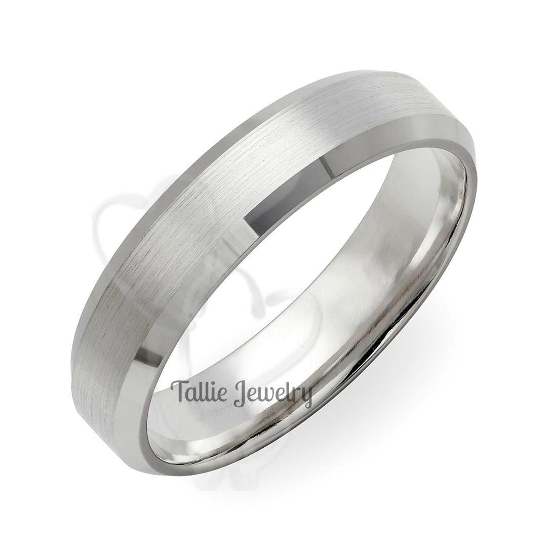 Mens White Gold Wedding Bands, Matching Wedding Rings, 5mm