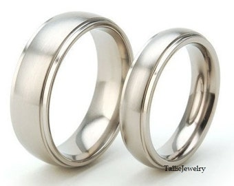 His & Hers Wedding Rings, Matching Wedding Bands Set , 10K 14K 18K Solid White Gold His and Hers Wedding Bands, Couple Wedding Rings