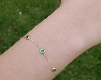 14K Solid Yellow Gold Emerald Bracelet , Emerald Station Bracelet, May Birthstone ,Green Emerald, Dainty Emerald Bracelet