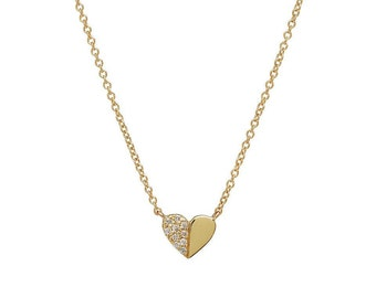 14K Yellow Gold Heart Necklace / Diamond  Heart Necklace /Dainty Heart Necklace /Minimalist Diamond Heart Necklace /Gifts for Her /Necklaces
