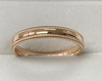 3mm 10K 14K 18K Solid Yellow Gold Wedding Band, Dome Shiny Finish Milgrain Mens Wedding Ring,His and Hers Wedding Bands, Womens Wedding Ring
