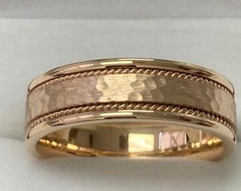 Mens Wedding Bands , Mens Wedding Rings, 7mm 10K 14K 18K Yellow Gold Hammered Finish Wedding Bands, Handmade Rope Braided Mens Wedding Ring