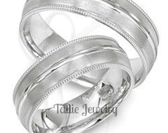 Platinum Matching Wedding Rings Set, His & Hers Platinum Wedding Bands, Rings for Men, Rings for Women,  Platinum Wedding Rings