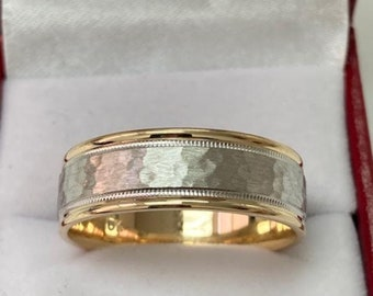 18K Solid Yellow Gold and Platinum Mens Wedding Bands, Milgrain Hammered Finish Platinum Mens Wedding Rings, Two Tone Gold Wedding Bands