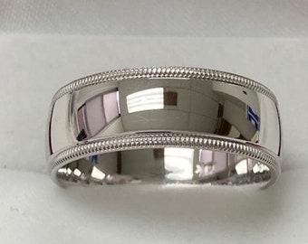 Platinum Mens Wedding Bands, Platinum Mens Wedding Rings ,8mm Milgrain Shiny Finish Mens Platinum Wedding Band,