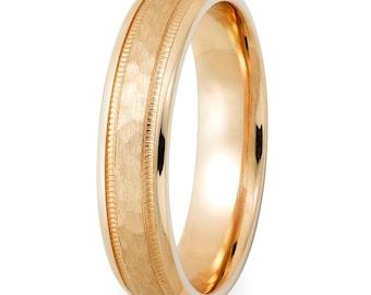 Mens Wedding Band, Mens Wedding Ring, 4mm 10K 14K 18K Solid Yellow Gold Hammered Finish Milgrain Mens Wedding Bands,Yellow Gold Wedding Band