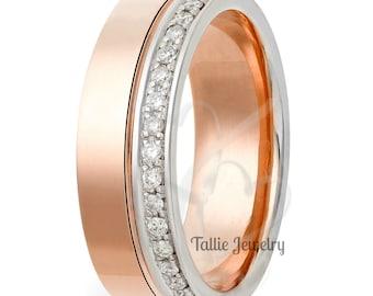 14K White & Rose Gold Diamond Band ,Diamond Eternity Wedding Rings ,Womens Diamond Wedding Bands , Rings for Women, Diamond Eternity Band