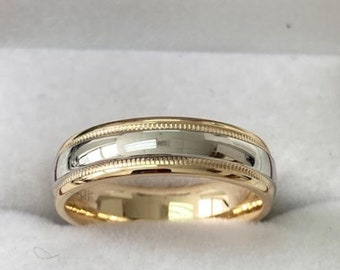 Platinum & 18K Yellow Gold Mens Wedding Band ,Platinum Mens Wedding Ring,Two Tone Gold Wedding Bands,Shiny Finish Milgrain Mens Wedding Ring